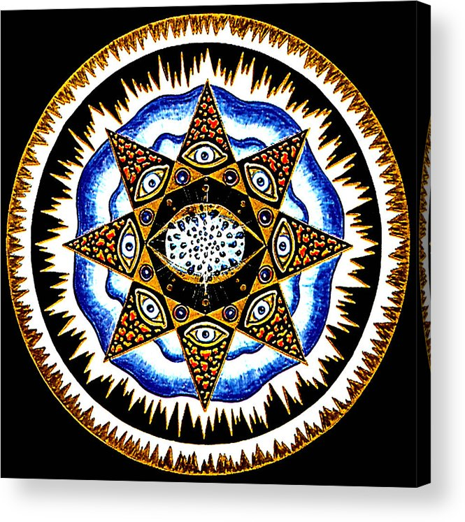 Mandala Acrylic Print featuring the painting Expanding Consciousness by Pam Ellis