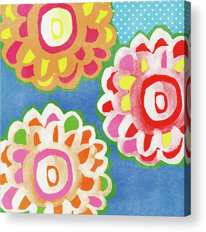 Flowers Acrylic Print featuring the mixed media Fiesta Floral 3- Art by Linda Woods by Linda Woods