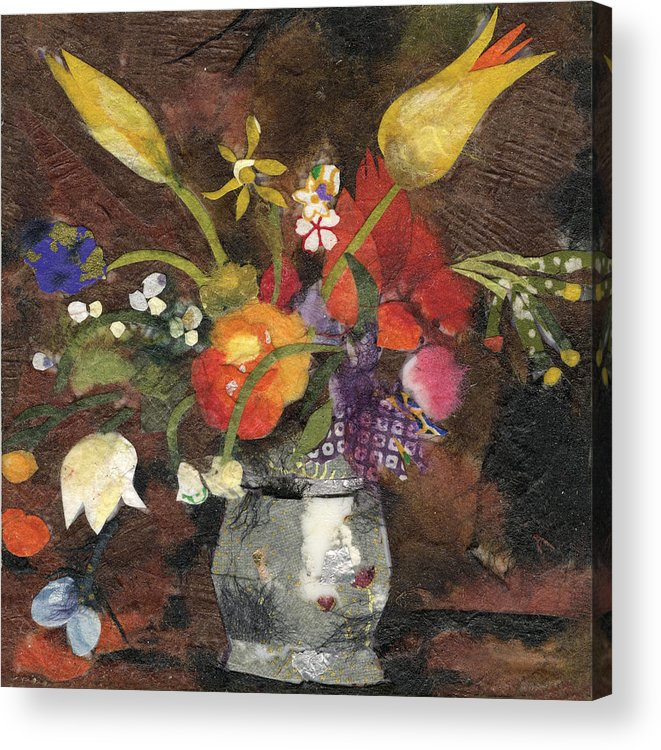 Limited Edition Prints Acrylic Print featuring the painting Flowers in a silver vase by Nira Schwartz