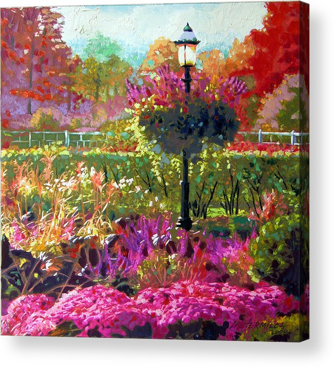 Landscape Acrylic Print featuring the painting Gas Light in the Garden by John Lautermilch
