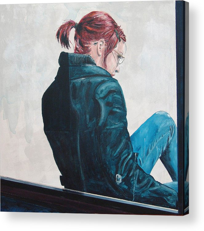 Kevin Callahan Acrylic Print featuring the painting Girl in the Window-SFAI by Kevin Callahan