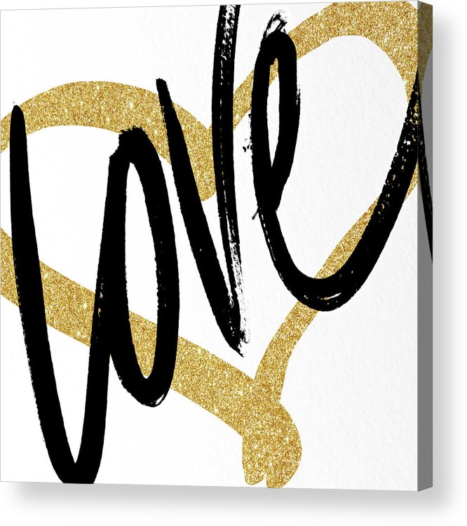 Gold Acrylic Print featuring the painting Gold Heart Black Script Love by South Social Studio