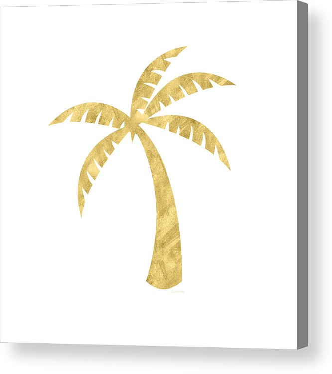 Palm Tree Acrylic Print featuring the mixed media Gold Palm Tree- Art by Linda Woods by Linda Woods