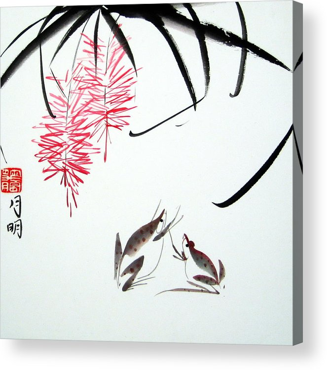 Chinese Painting Acrylic Print featuring the painting Graceful Frogs by Ming Yeung