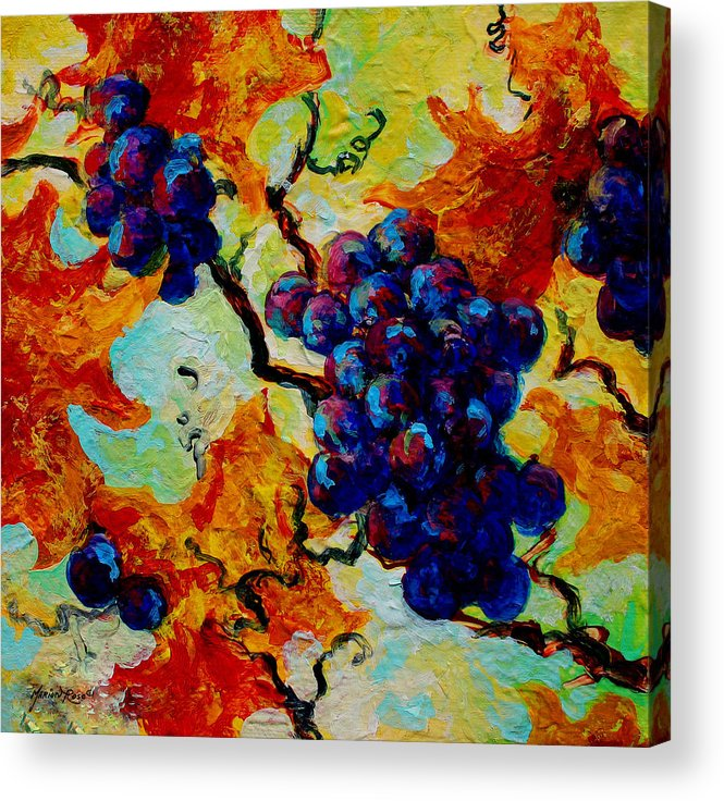 Grapes Acrylic Print featuring the painting Grapes Mini by Marion Rose