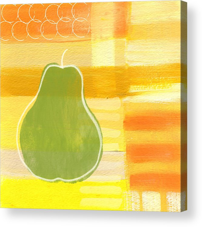 Pear Acrylic Print featuring the painting Green Pear- Art by Linda Woods by Linda Woods