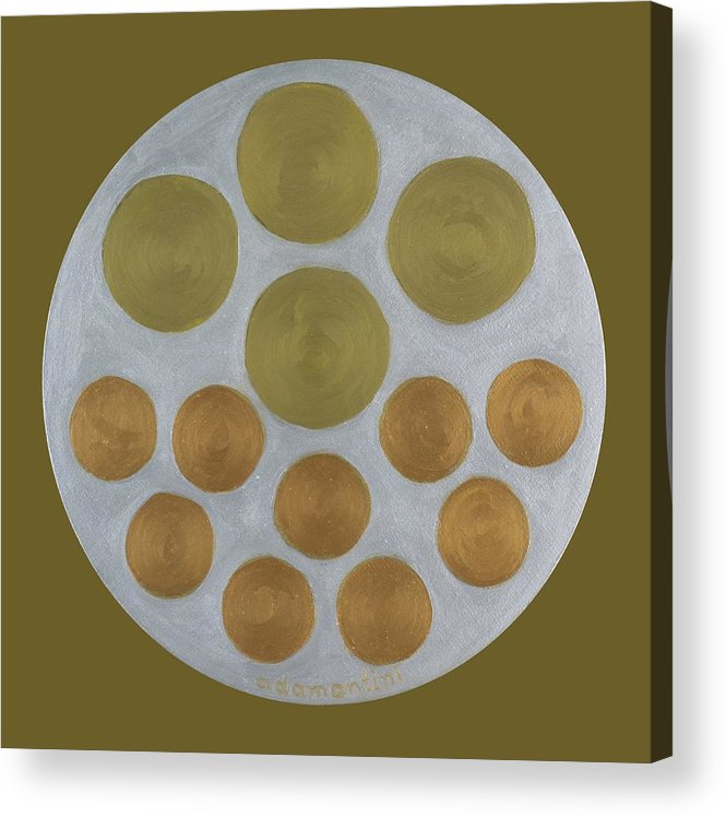 He Tu Acrylic Print featuring the painting He Tu Metal Round by Adamantini Feng shui