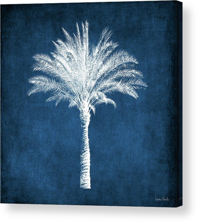 Palm Tree Acrylic Print featuring the mixed media Indigo and White Palm Tree- Art by Linda Woods by Linda Woods