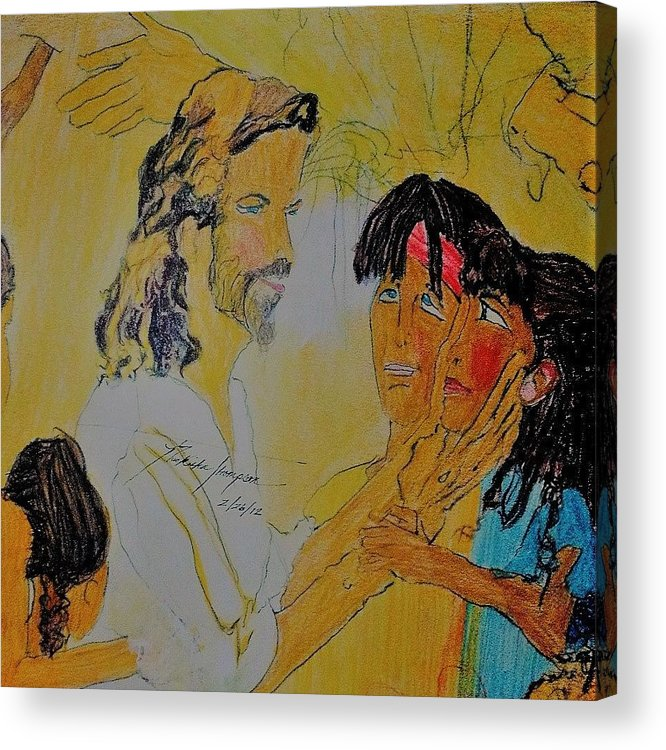 Children Acrylic Print featuring the drawing Jesus and the Children by Love Art Wonders By God