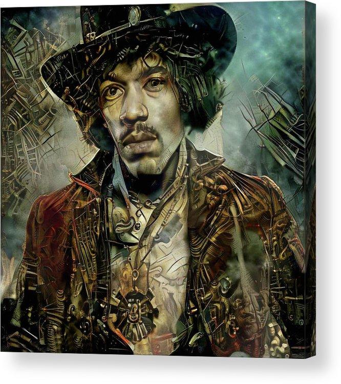 Jimi Hendrix Acrylic Print featuring the mixed media Jimi Hendrix Steampunk style by Lilia D