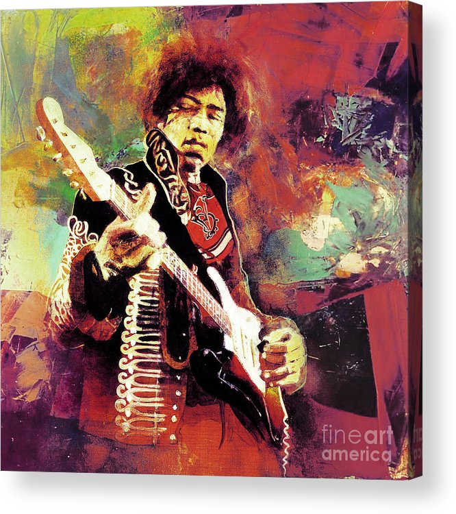 Guitar Acrylic Print featuring the painting Jimi Hendrix the legend by Gull G