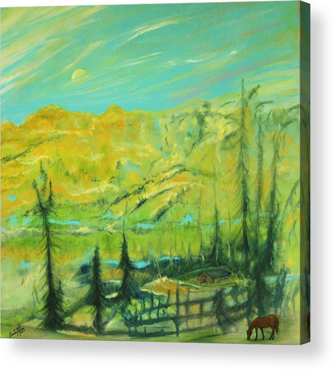 Contemporary Landscape Acrylic Print featuring the painting La Paix by Annie Rioux