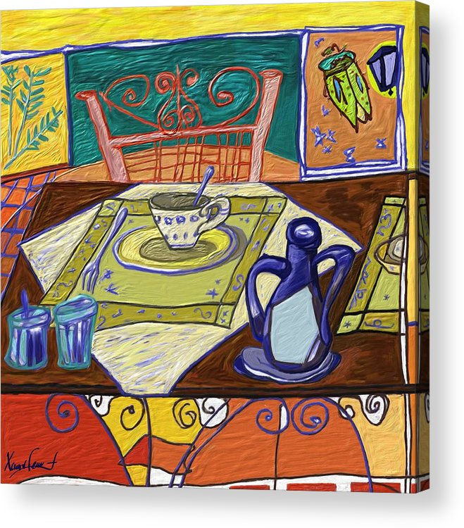 Still Life Acrylic Print featuring the painting La taula by Xavier Ferrer