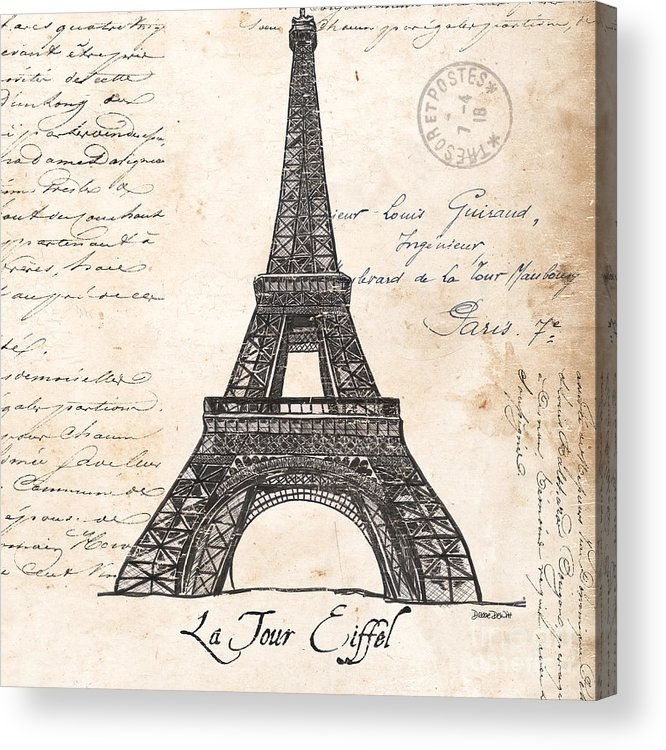 Eiffel Tower Acrylic Print featuring the painting La Tour Eiffel by Debbie DeWitt