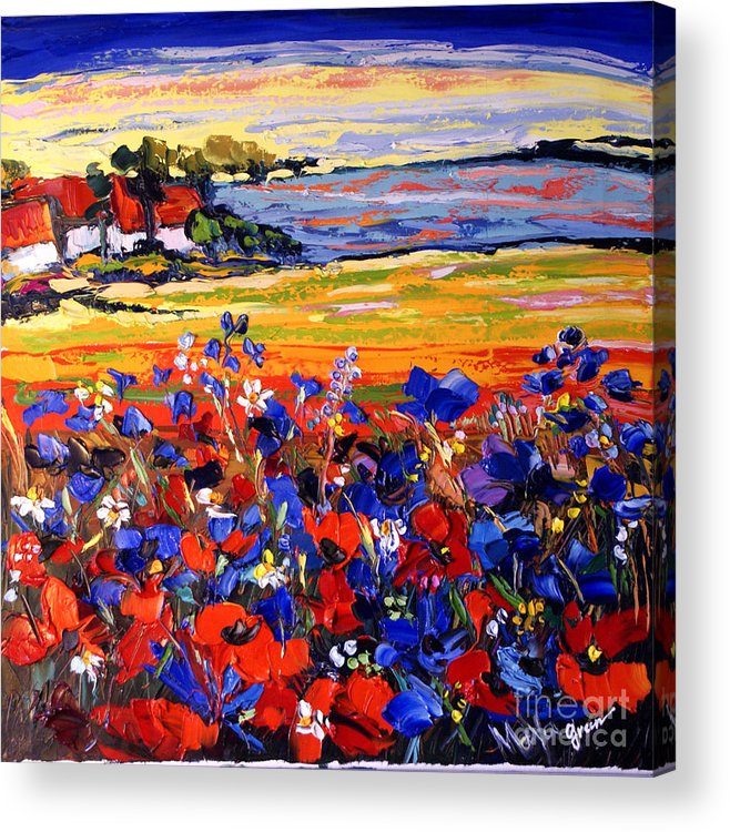 Artwork Acrylic Print featuring the painting Landscape With Poppies by Maya Green