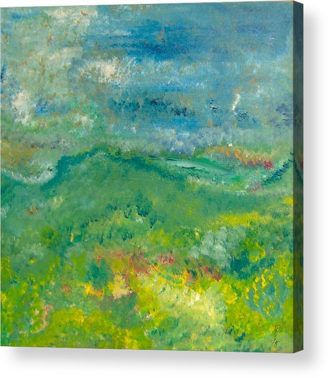 Pointillism Acrylic Print featuring the painting Landschaft bei Arles by Michael Puya