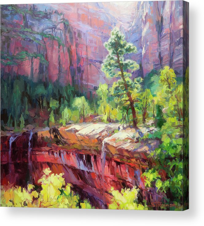 Zion Acrylic Print featuring the painting Last Light in Zion by Steve Henderson