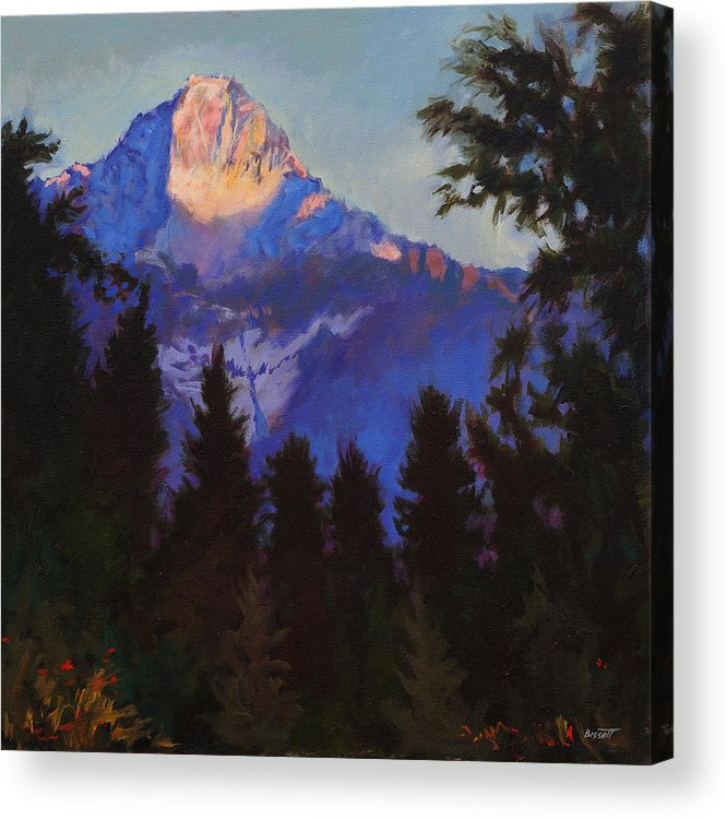 Glacier Acrylic Print featuring the painting Last Rays by Robert Bissett