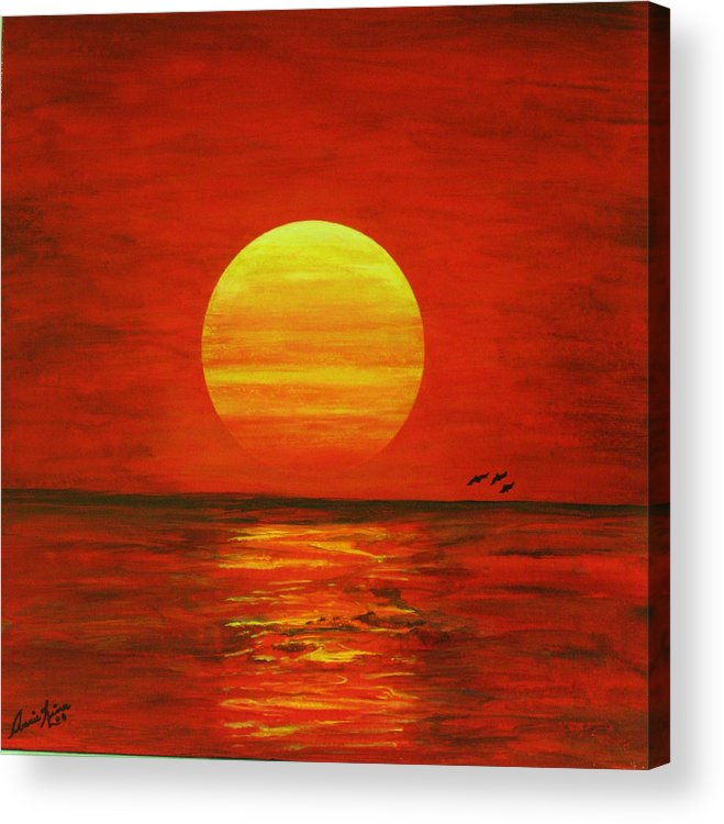 Contemporain Sea Acrylic Print featuring the painting Les Vavances by Annie Rioux