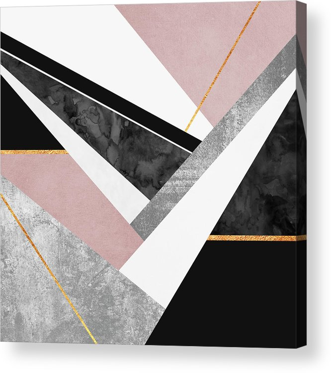 Digital Acrylic Print featuring the digital art Lines and Layers by Elisabeth Fredriksson