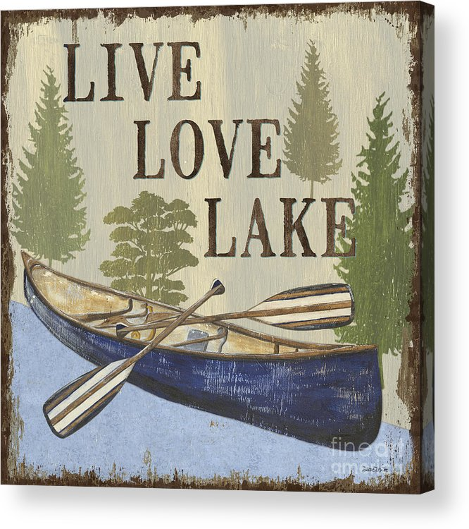 Lake Acrylic Print featuring the painting Live, Love Lake by Debbie DeWitt