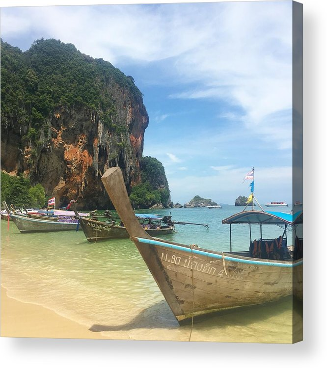 Thailand Acrylic Print featuring the photograph Lounging Longboats by Ell Wills