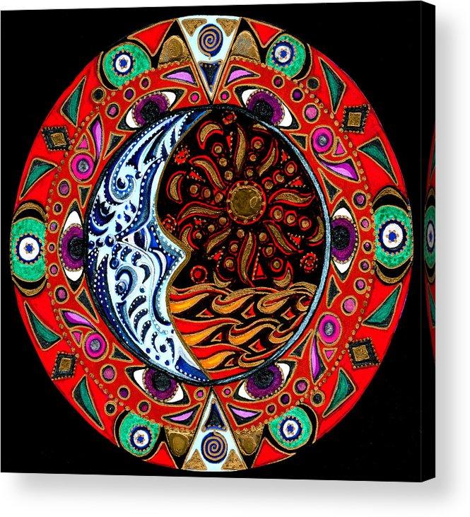 Mandala Acrylic Print featuring the painting Luna Sea by Pam Ellis