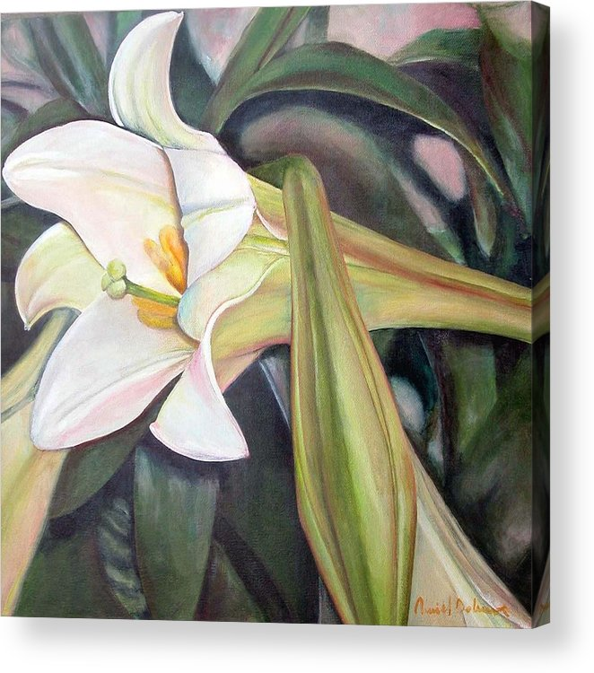 Floral Painting Acrylic Print featuring the painting Lys by Muriel Dolemieux