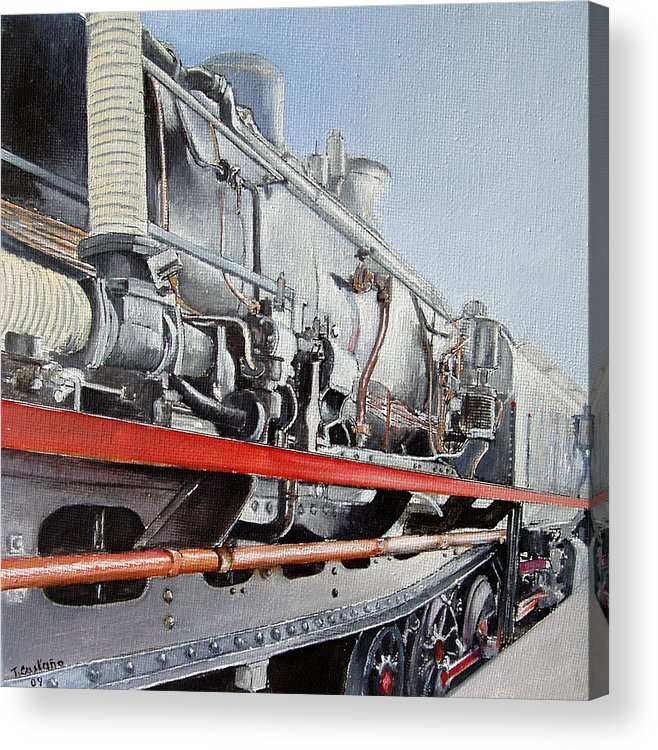 Train Acrylic Print featuring the painting Maquina de Vapor by Tomas Castano