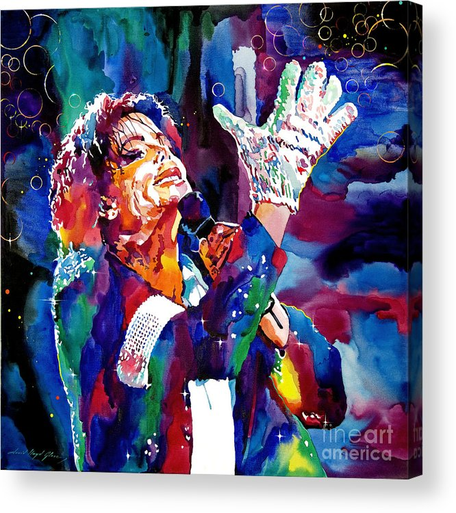 Michael Acrylic Print featuring the painting Michael Jackson Sings by David Lloyd Glover