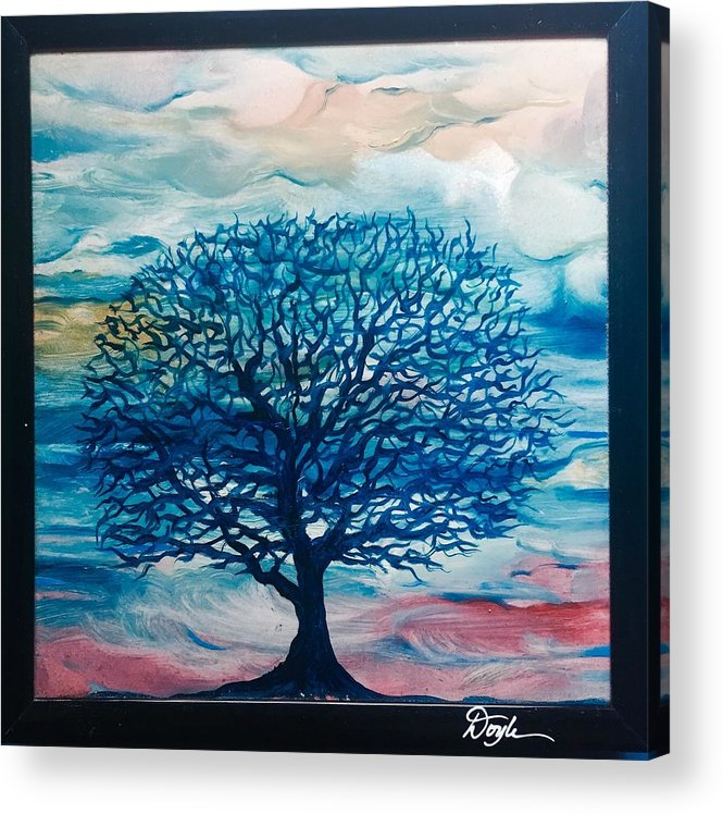 Blue Acrylic Print featuring the painting Moody Clouds with Blue Tree by Karen Doyle