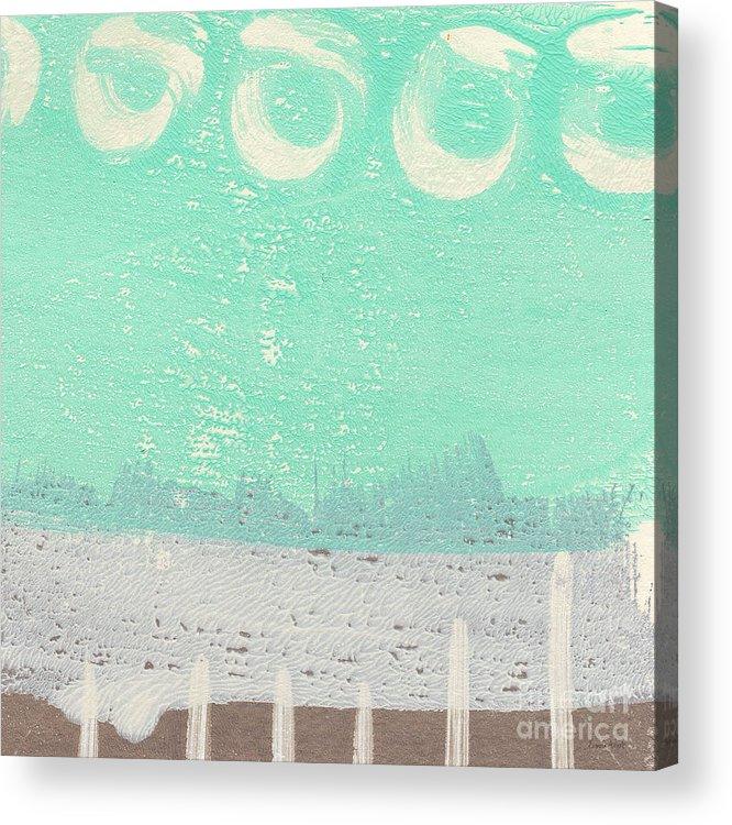 Abstract Acrylic Print featuring the painting Moon Over The Sea by Linda Woods