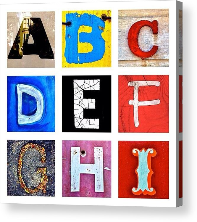 Alphabet Letters Acrylic Print featuring the photograph myownalphabet A to I by Julie Gebhardt
