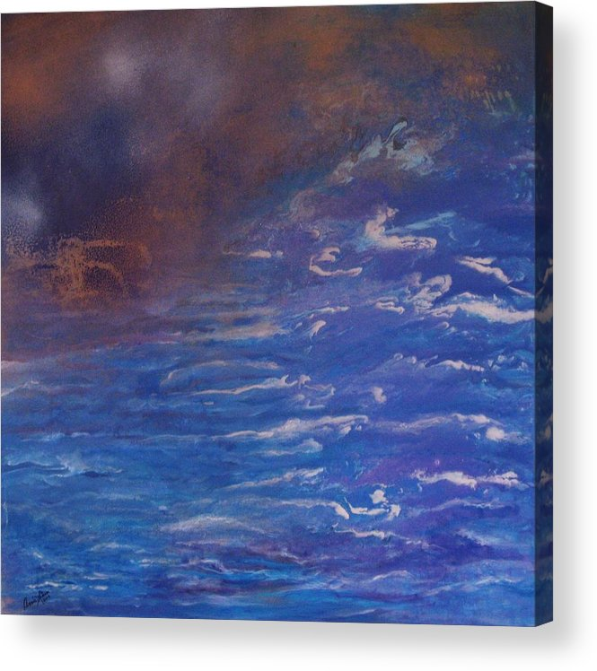 Contemporary Sea Acrylic Print featuring the painting Mysteres Du Pacifique by Annie Rioux