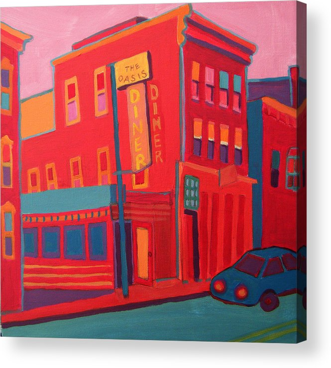 Diner Acrylic Print featuring the painting Oasis Diner Burlington VT by Debra Bretton Robinson