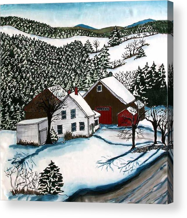 Farm Acrylic Print featuring the tapestry - textile Old Hutchinson Place by Linda Marcille