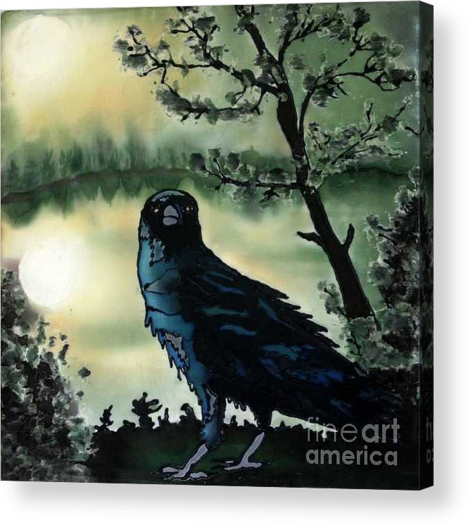 Raven Acrylic Print featuring the painting Omen of Change by Linda Marcille