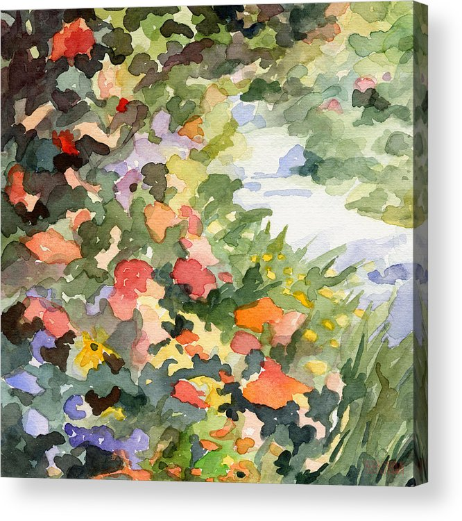 Garden Acrylic Print featuring the painting Path Monets Garden Watercolor Paintings of France by Beverly Brown Prints