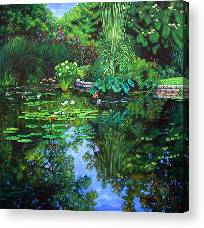 Landscape Acrylic Print featuring the painting Peace Floods my Soul by John Lautermilch