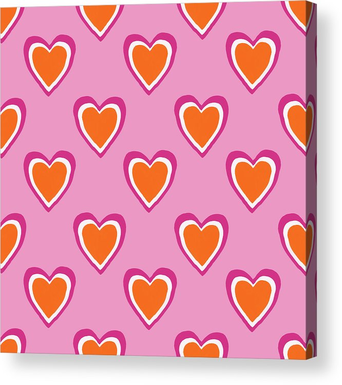 Hearts Acrylic Print featuring the mixed media Pink And Orange Hearts- Art by Linda Woods by Linda Woods