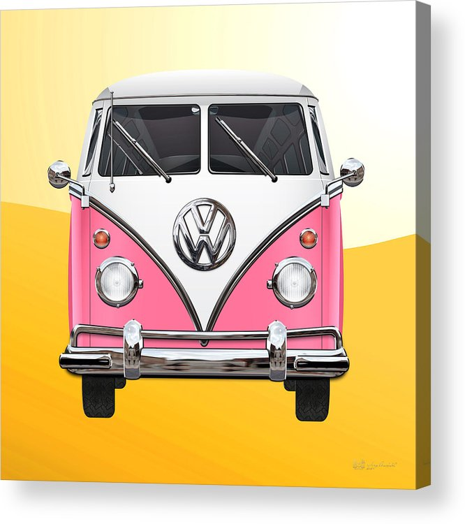 'volkswagen Type 2' Collection By Serge Averbukh Acrylic Print featuring the photograph Pink and White Volkswagen T 1 Samba Bus on Yellow by Serge Averbukh