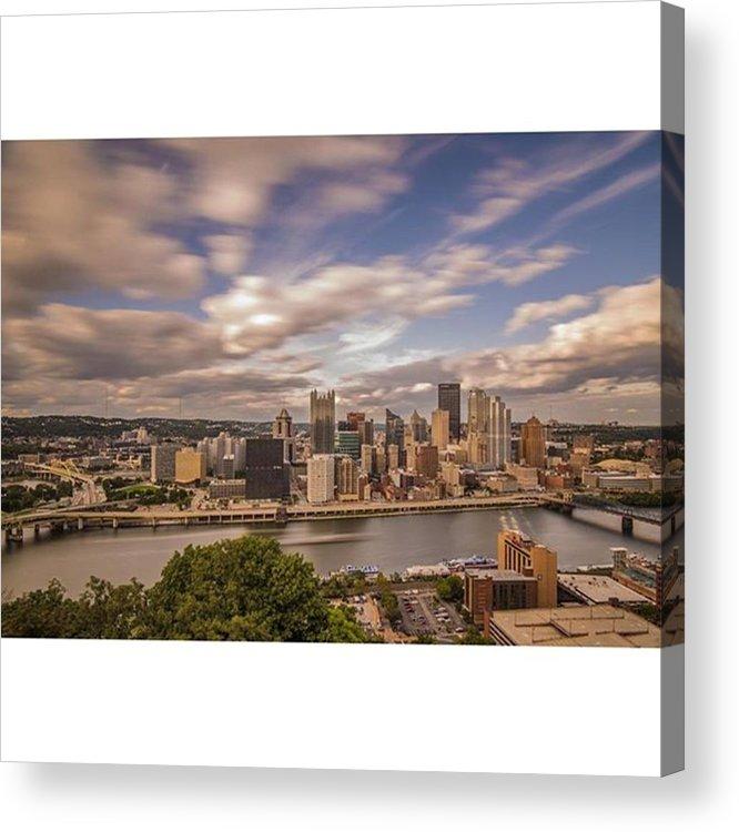 Bridge Acrylic Print featuring the photograph Pittsburgh Long Exposure Skyline. The by David Haskett II
