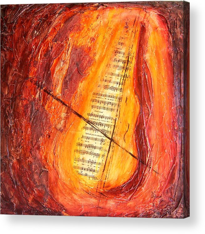 Music Acrylic Print featuring the painting Poesial Visual by Ivan Guaderrama
