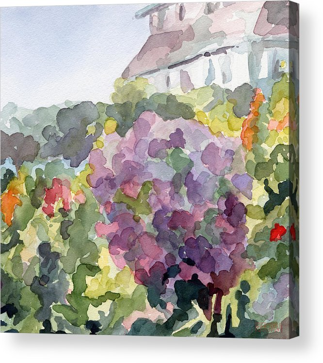 French Acrylic Print featuring the painting Purple Blossoms Monets Garden Watercolor Paintings Of France by Beverly Brown Prints