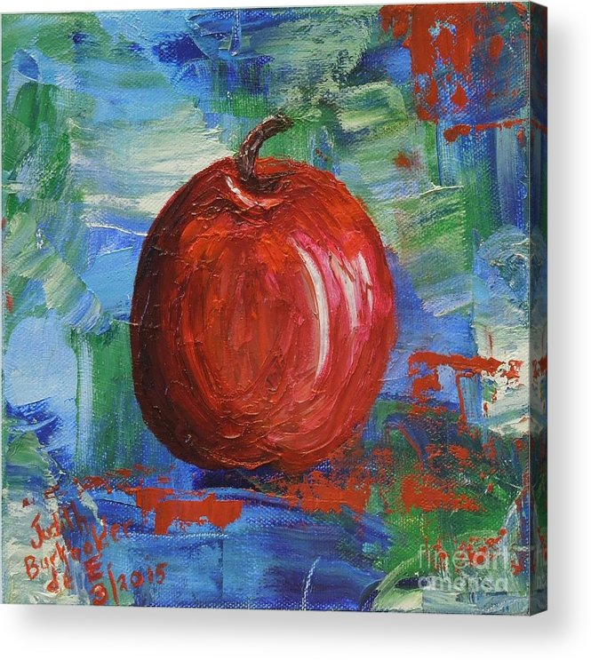 Apple Acrylic Print featuring the painting Red Apple Rhapsody-SOLD by Judith Espinoza