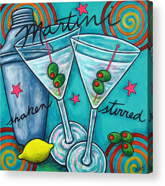 Alcohol Acrylic Print featuring the painting Retro Martini by Lisa Lorenz