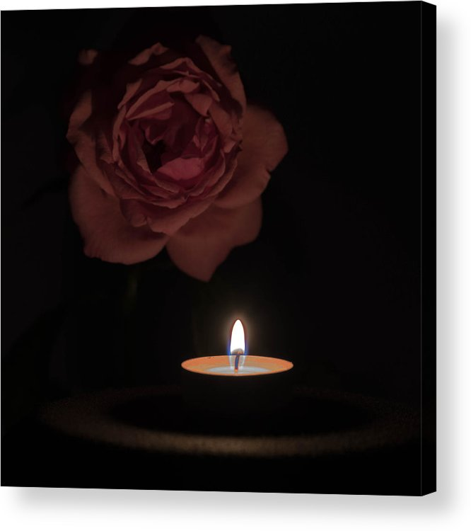 Angle Acrylic Print featuring the photograph Rose Candle by Adrian Bud