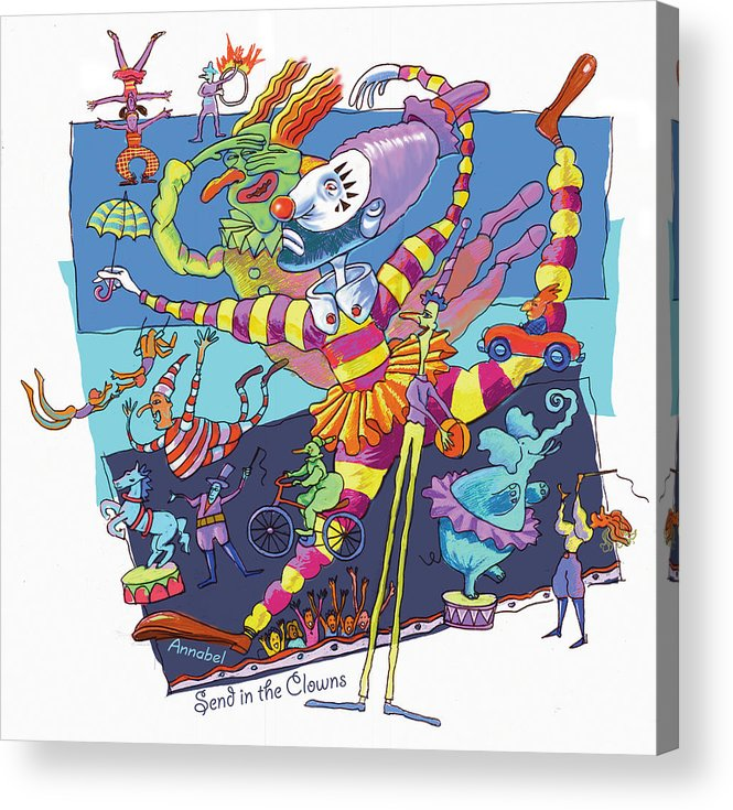 Clowns Acrylic Print featuring the digital art Send In The Clowns by Annabel Lee