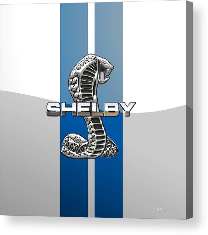 'auto Badges' Collection By Serge Averbukh Acrylic Print featuring the photograph Shelby Cobra - 3D Badge by Serge Averbukh