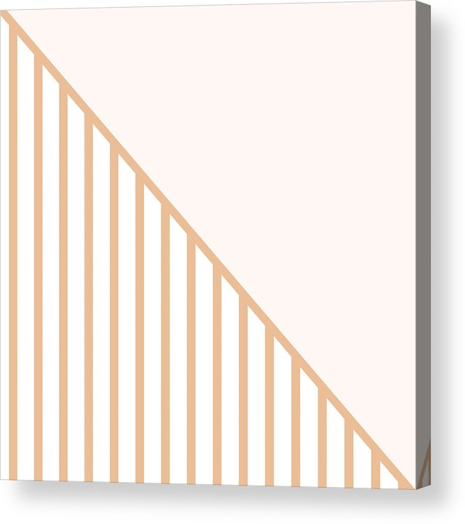 Pink Acrylic Print featuring the digital art Soft Blush and Coral Stripe Triangles by Linda Woods